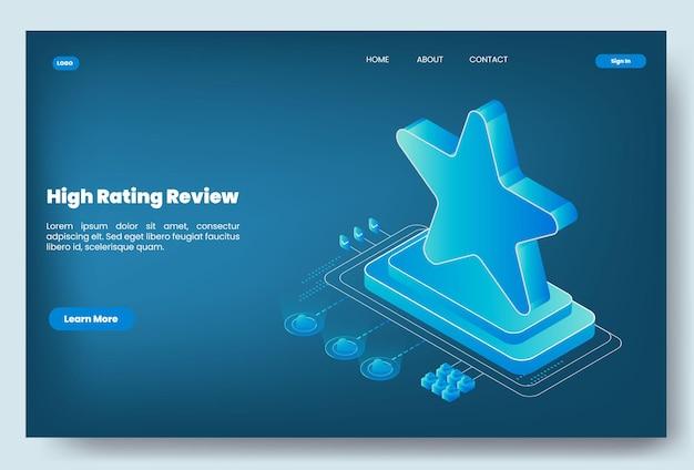 Moderne isometrische hoge rating review concept illustratie