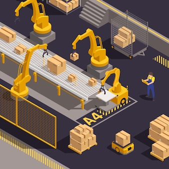 Moderne isometrische samenstelling van magazijnapparatuur met computergestuurde robotarmen die vrachtpakketten laden en sorteren
