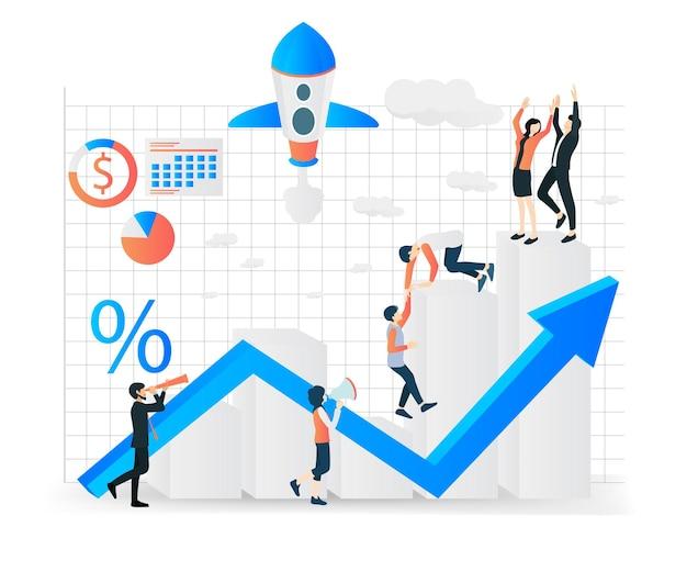 Moderne isometrische vectorillustratie over het opstarten van een bedrijf met karakters