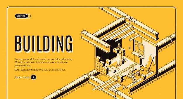 Moderne isometrische webbanner van het bouwnijverheidsbedrijf