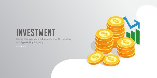 Moderne isometrische zakelijke investeringen concept illustratie met tekstsjabloon