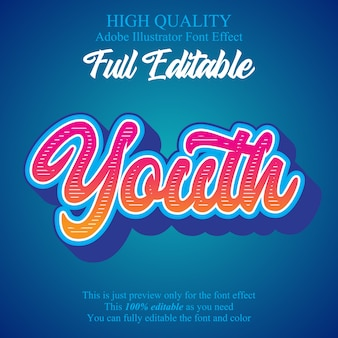 Moderne jeugd script bewerkbare typografie lettertype effect