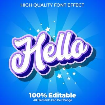 Moderne jonge hallo script tekststijl bewerkbaar lettertype effect