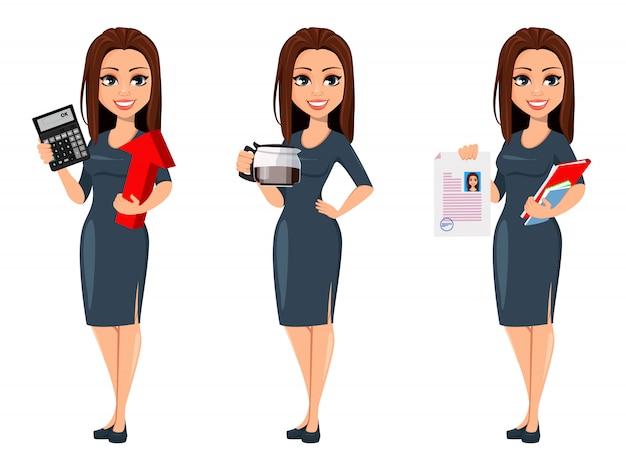Moderne jonge zakenvrouw in grijze jurk