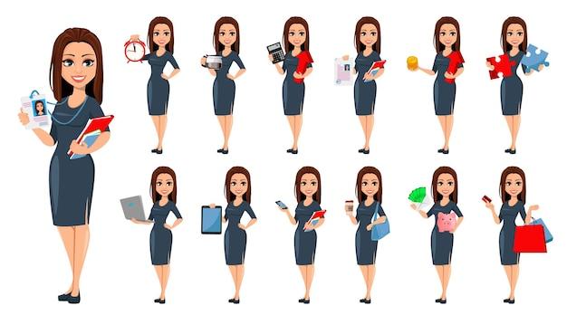 Moderne jonge zakenvrouw set van dertien poses