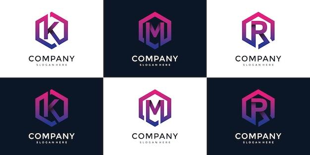 Moderne k, m, r met zeshoekige logo-ontwerpsjabloon