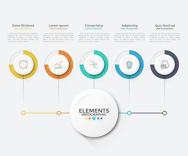 Moderne kaart met 5 ronde papieren witte elementen verbonden met de hoofdcirkel. schone infographic ontwerpsjabloon. vectorillustratie voor bedrijfsregeling, visualisatie van opstartprojectfuncties.