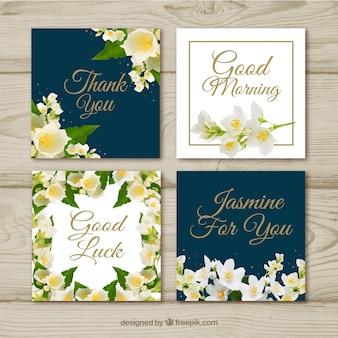 Moderne kaarten met jasmijnbloemen