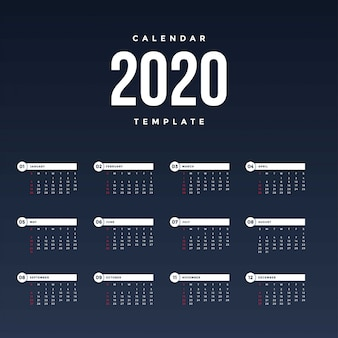 Moderne kalender 2020-sjabloon