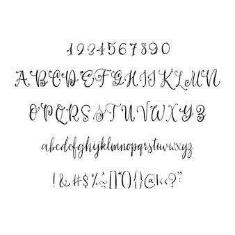 Moderne kalligrafie vintage handgeschreven vector lettertype voor lettering.trendy retro kalligrafie script.