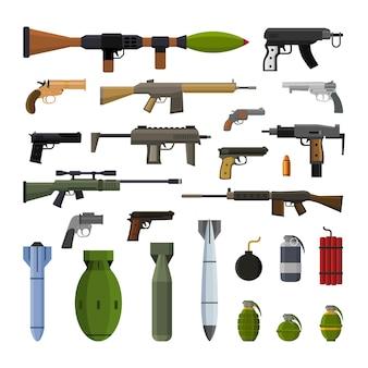 Moderne kanon en bomwapens decorontwerpelementen Premium Vector