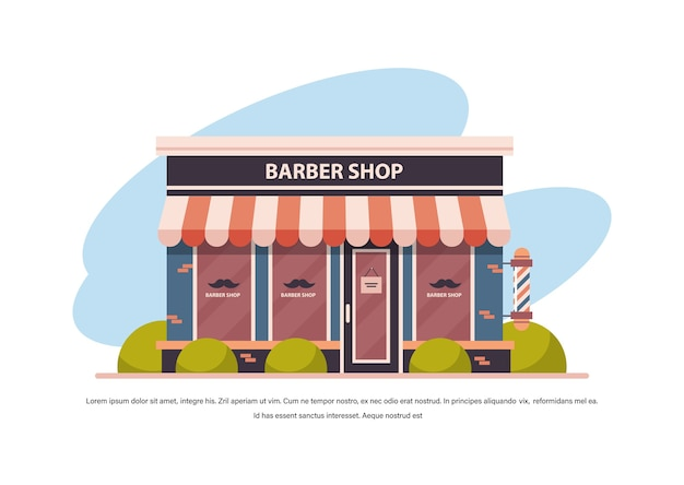 Moderne kapper winkel leeg geen mensen stad gebouw gevel vooraanzicht herenkapper concept horizontale kopie ruimte vectorillustratie