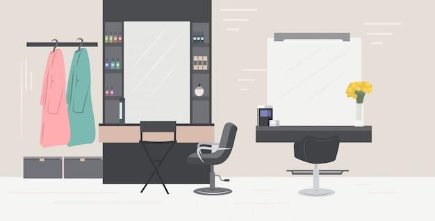 Moderne kapsalon met stoelen spiegels en meubels schoonheidssalon interieur horizontaal