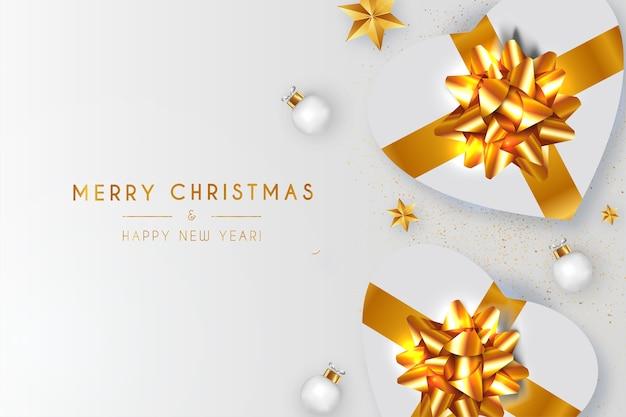 Moderne kerst achtergrond met realistische gift en witte kerstballen