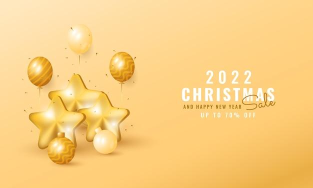 Moderne kerst- en nieuwjaarsbanner met ster- en ballondecoraties