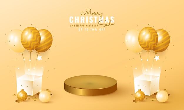 Moderne kerst- en nieuwjaarsverkoopbanner met podiumproductdisplay, ballon en geschenkdoos