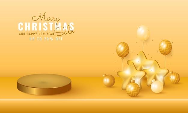 Moderne kerst- en nieuwjaarsverkoopbanner met podiumproductpresentatie, gouden ballon en ster