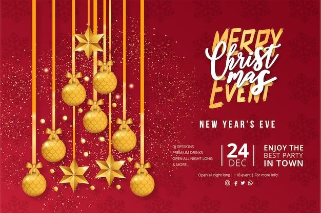 Moderne kerst evenement poster sjabloon