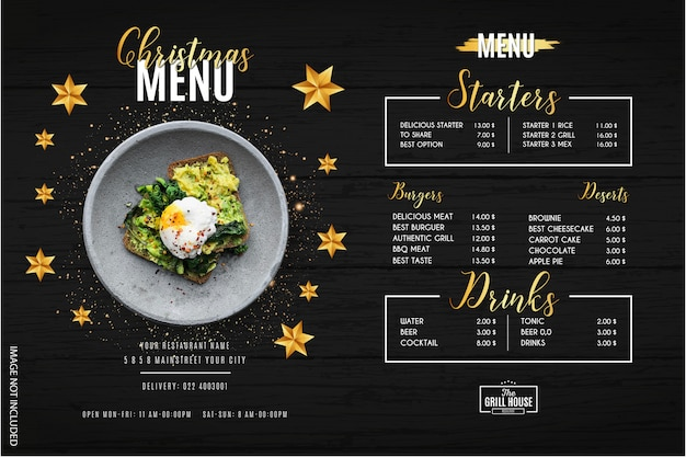 Moderne kerst menu restaurant sjabloon
