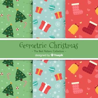 Moderne kerst patroon collectie met geometrisch ontwerp