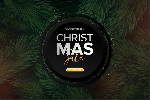 Moderne kerst verkoop banner met realistische kerstboom achtergrond