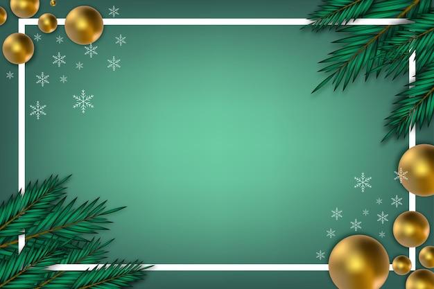 Moderne kerstachtergrond met blad en gouden bal