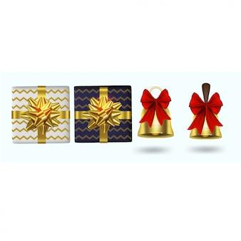 Moderne kerstelementen met geschenkdozen en klokken