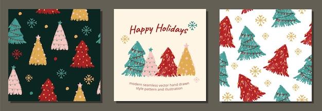 Moderne kerstvakantie bomen patronen sjabloonontwerp voor stoffen cadeaupapier linnen en sociaal