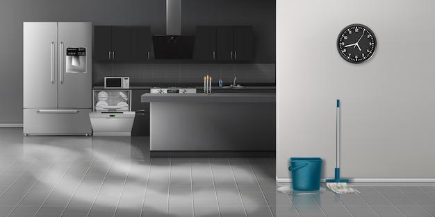 Moderne keuken die realistische achtergrond schoonmaakt