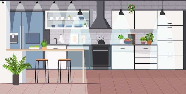 Moderne keuken interieur leeg geen mensen huis kamer
