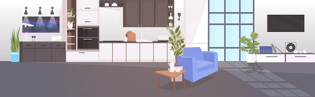 Moderne keuken interieur leeg geen mensen huiskamer met meubels horizontaal