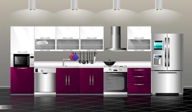Moderne keuken interieur vector illustratie keuken paars