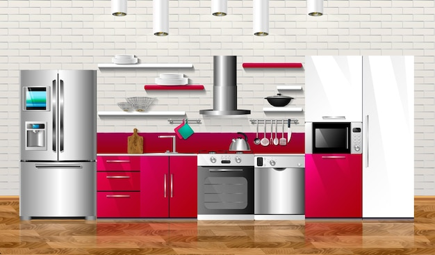 Moderne keuken interieur vector illustratie keuken roze