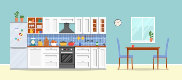 Moderne keuken met meubels