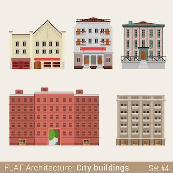 Moderne klassieke gemeentelijke gebouwen set school universiteitsbibliotheek huis stadselementen stijlvolle architectuurcollectie