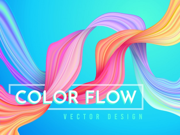 Moderne kleurenstroomposter. golf vloeibare vorm op lichtblauwe kleurenachtergrond.