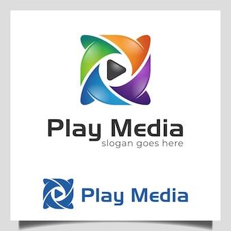 Moderne kleurrijke afspeelknop media icoon logo voor media studio, multimedia, muziekspeler logo symbool