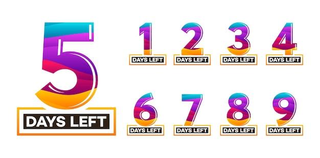 Moderne kleurrijke countdown links dagen banner, aantal dagen links badge voor promotie, countdown verkoop vectorillustratie