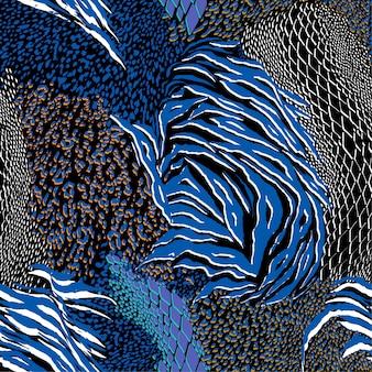 Moderne kleurrijke gemengde dierenhuid naadloze patroon vector