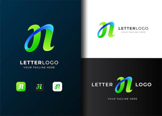 Moderne kleurrijke letter n logo sjabloonontwerp
