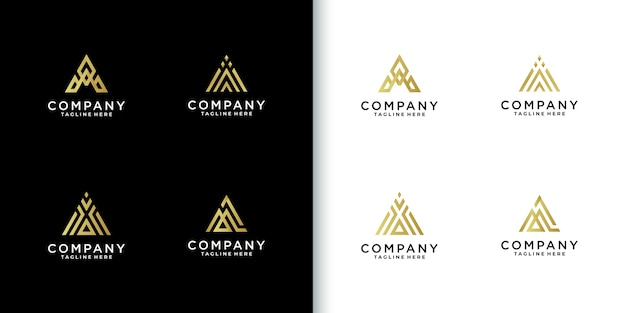 Moderne kleurrijke monogram letter a logo collectie voor bedrijf