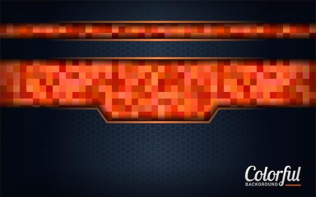 Moderne kleurrijke oranje pixelachtergrond. donkere abstracte achtergrond