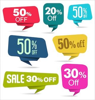 Moderne kleurrijke verkoop stickers collectie