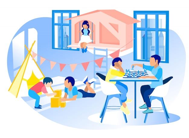 Moderne kleuterschool diverse kinderen promo illustratie