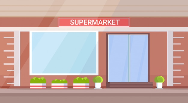 Moderne kruidenierswinkel supermarkt buitenkant leeg geen mensen straat horizontaal