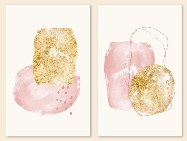 Moderne kunst aan de muur met abstracte roze acrylvorm en gouden vlekken
