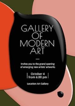 Moderne kunst galerij sjabloon vector kleur verf abstracte advertentie poster