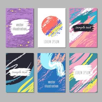 Moderne kunst wallpapers vector set. hedendaagse achtergronden met textuur