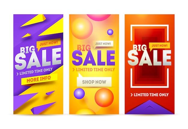 Moderne kunst website verkoop sjabloon voor spandoek. korting verkoop banner.
