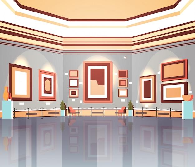 Moderne kunstgalerie in museuminterieur creatieve hedendaagse schilderijen kunstwerken of exposities plat